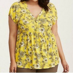 Torrid Yellow Floral Lace-up Top
